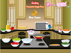 Cooking Prosciutto Funghi Pizza game